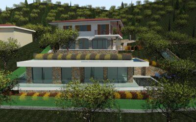 Torri del Benaco località Rossone, villa singola vista lago con piscina