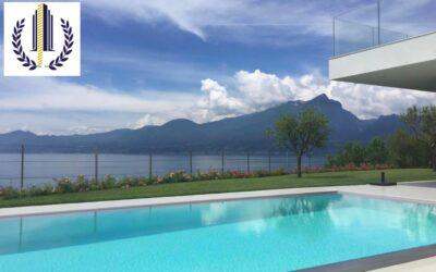 Torri del Benaco, moderna villa vista lago con piscina